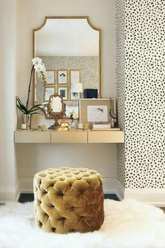 tufted velvet & patterned wallpaper