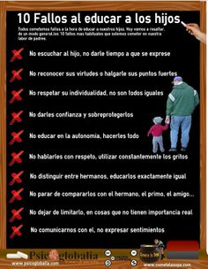 10 Fallos al educar a los hijos