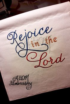 Atasha used our Rejoice In the Lord Embroidery Design on this banner