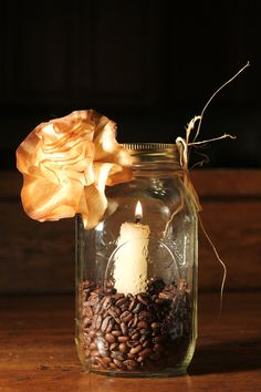 Coffee Filter Stained Paper Double Flowers Uniquely by CrafTeaCafe, Centerpiece, Wedding, Mason Jar