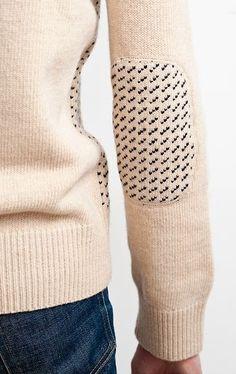 Wool knitwear | Fisherman style | Elbow patch detail