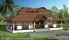Floor plan and elevation of 3065 square feet Kerala traditional home design by R it designers, Kannur, Kerala. Indian Home Design, Kerala House Design, Kerala Architecture, Architecture Baroque, House Architecture, Kerala Traditional House, Traditional House Plans, Modern Traditional, Village House Design