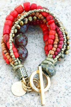Antique Red Shimmer Glass, Bronze Pearl and African Brass Bracelet