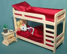 """Bedroom Furniture set Bunk BED 2-tier & Bedside table with drawers wooden dollhouse 1:6 scale 12"""" dolls Barbie MH EAH role-playing games"""