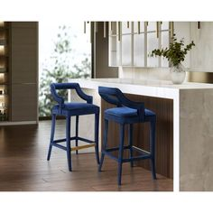 Navy Velvet Bar Stool