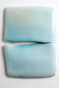 "Emmanuel Boos Ph.D.  |  ""split"":  celadon glaze on porcelain.  ""I love ceramic glaze. It touches me, fascinates me and fills me with wonder.  It is the depth of a ceramic glaze that I am awed by and that draws me in.