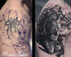 Batman Tattoo Cover Up - From Spidey to Batman; and the transition has never been better. Through the plan, we could see where the old tattoo was hidden and of course, it where the darker shades are.