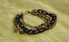 Steampunk Chain Bracelet: 5 Chain Multi-Color Handmade Goth Punk Bracelet. $16.95, via Etsy.