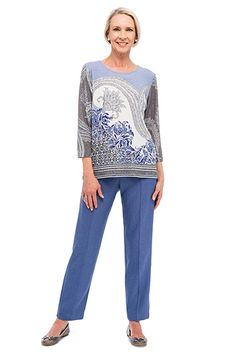09b05cbcdab50 Alfred Dunner paisley shimmer knit top and herringbone proportioned pant   alfreddunner  fall2015  fallfashion