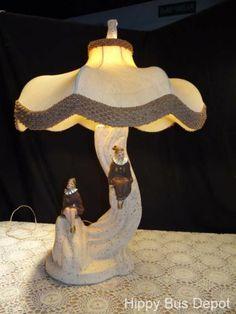 Mid Century Modern Clown Jester Pixie Pierrot Majestic Pottery Lamp & SHADE vtg