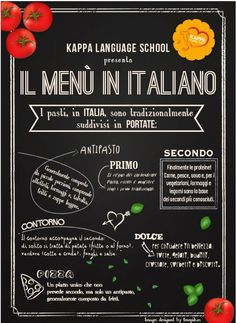 Learn Italian words to read a menu in Italian Language. Infographic about Italian words for food and courses to learn Italian language. Italian Grammar, Italian Vocabulary, Italian Phrases, Italian Words, Italian Language, Italian Quotes, German Language, Japanese Language, Italian Lunch