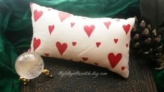 Little Hearts Pillow Handmade, Hand Painted Valentine's Day Pillow, Love Spell Pillow