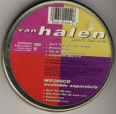 """For Sale - Van Halen Don't Tell Me - Gold Tin UK  CD single (CD5 / 5"""") - See this and 250,000 other rare & vintage vinyl records, singles, LPs & CDs at http://eil.com"""