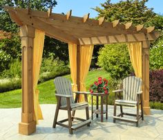 The Berlin Gardens Alcove pergola is made from treated wood. It adds shade and attractiveness to a corner of any deck or patio. #pergolas #BerlinGardens