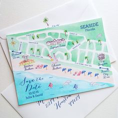 Destination Florida! Custom illustrated watercolor save the date map - www.mospensstudio.com