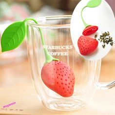 Cute Strawberry Style Silicon Tea Leaf Strainer Herbal Spice Infuser Filter #Unbranded