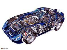 Cutaway of the: Shelby Cobra Daytona Coupe 1965 Shelby Cobra, Ac Cobra, Cutaway, Le Mans, Sport Cars, Race Cars, Grand Prix, Shelby Daytona, Snakes
