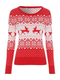 Make a super cute addition to your collection of seasonal wardrobe essentials with this women's novelty Christmas jumper. With a round neck, a ribbed hem and cuffs and a flattering fitted design, this jumper is perfect for giving your wardrobe a fun festi Novelty Christmas Jumpers, Xmas Jumpers, Christmas Tops, Christmas Sweaters, Holiday Outfits, Holiday Clothes, Red Jumper, Fair Isle Pattern, Red Sweaters