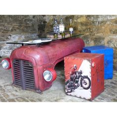 Red Tractor Coffee Table - Retro vintage Unique Urban Recycled Metal coffee table and glass made from Massey ferguson tractors, yes that right, come and take a look in our online recycled furniture store today UK Funky Furniture, Recycled Furniture, Industrial Furniture, Furniture Ideas, Metal Work Table, Retro Coffee Tables, Automotive Decor, Cafe Design, Furniture Collection
