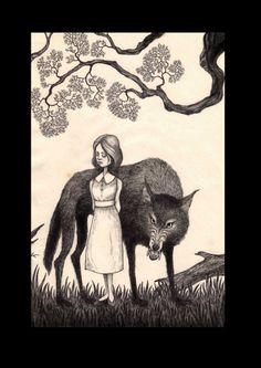 Bloodwolf, John Kenn Mortensen illus for Deadfall Hotel, Centipede Press