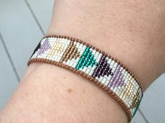 Beaded Geometric Loom woven Bracelet