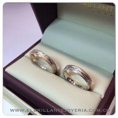 Argollas en oro blanco y rosado     www.elbrillantejoyeria.com.co