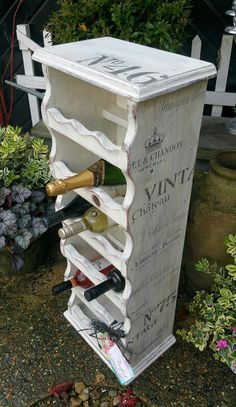 Shabby chic country style wine rack in Annie Sloan's old white with complimentary wine stencils, by Imperfectly Perfect xx