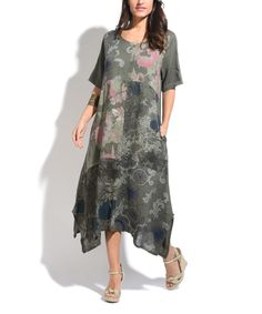 Khaki Linen Floral Shift Maxi Dress
