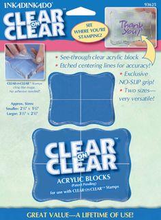 "Small 2.25""X1.75"", Medium 3.5""X2.5"" Inkadinkado Clear On Clear Acrylic Blocks 2/Pkg I93625 - Stamps"