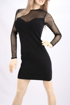 27d4d10fff6 NEW Victoria s Secret Mesh Sweetheart Bandage Zipper Sweaterdress Dress XS  Black