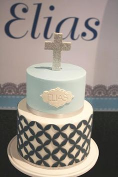 first communion cake Baby Christening Cakes, Baby Boy Cakes, Cakes For Boys, Baptism Cakes, Comunion Cakes, Boy Communion Cake, Christian Cakes, Religious Cakes, Confirmation Cakes
