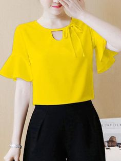 Buy Round Neck Bowknot Keyhole Plain Bell Sleeve Blouse online with cheap prices and discover fashion Blouses at Fashionmia.com.