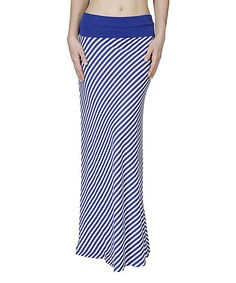 Look at this Blue & White Bias Stripe Maxi Skirt on #zulily today!