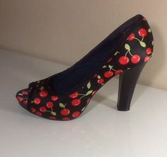 Shoes with Cherry Pattern Sz 6