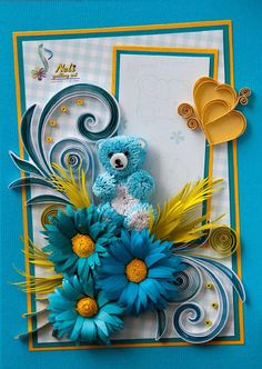 Lovely quilling with a cute little bear - by: Neli