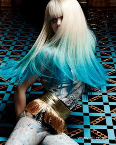 Dip-dyed blue hair - see more here: http://www.hji.co.uk/image/2013-blue-dip-dye-hair-qhs33351.html