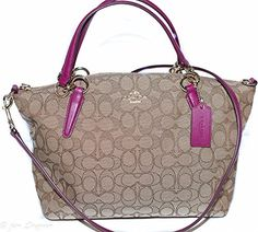 Coach OTL Signature J Small Kelsey - Khaki/Fuchsia -- Details can be found by clicking on the image.