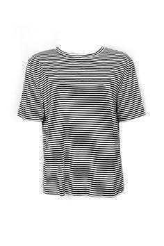 T-Shirt Listrada Preta e Branca Detalhe nas Costas - Carol Farina