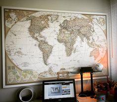 National geographic vintage retro kanvas tablo dünya haritası. Ofis ve çalışma odası için harika bence.
