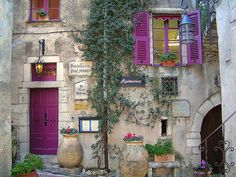 Provence, France ~~ Purple door and shutters Purple Door, Funky Junk Interiors, France Photos, Doorway, Windows And Doors, Front Doors, The Places Youll Go, Arches, The Good Place