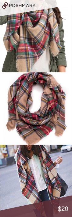 Pretty Plaid Wrap Perfect fall wrap, super warm, stylish and soft. Looks great dressed up or down. Can be worn as a blanket scarf, wrap, or shawl. 100% acrylic/hand wash. Francesca's Collections Accessories Scarves & Wraps
