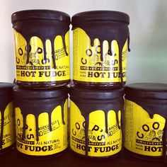 """Hot fudge packaging.  Not crazy about the label itself for it could use some improvement but like the """"fudge"""" effect of the brown wax (??) sealing the jar"""