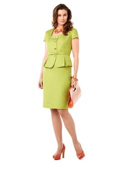 Green Peplum Skirt Suit