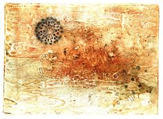 floater, collagraph w/chine colle