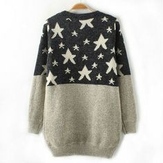 Contrast color stars sparkly rhinestone packet hip crewneck sweater pullover