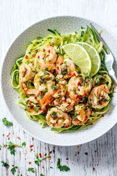 Cilantro Lime Shrimp with Zucchini Noodles - A perfect low-carb option when you're looking for a quick, light dinner that's packed with flavor.