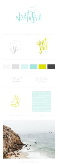 Brand Board by North Sail Design, Custom Logo, Custom Design, Fresh Brand, Colorful, Lime Green, Blue, Business Branding