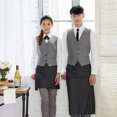 2015 Newest Beige Slim Vest For Men Korea restaurant Cafe floral baking room Workwear uniforms gray waistcoat free shipping