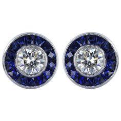 Diamond Sapphire Stud Earring   From a unique collection of vintage stud earrings at https://www.1stdibs.com/jewelry/earrings/stud-earrings/