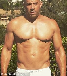 Vin Diesel shirtless showing off his softer side in Miami | Daily ...